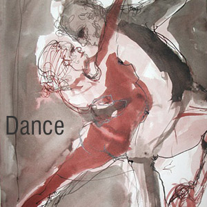 Argantine tango dancers , pen and ink drawing by Barri Faryad